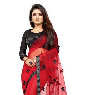 TRENDY BUTTERFLY LACER CUT NET SAREE RED