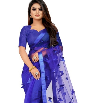 TRENDY BUTTERFLY LACER CUT NET SAREE ( Blue)