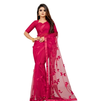 TRENDY BUTTERFLY LACER CUT NET SAREE (Hot Pink)